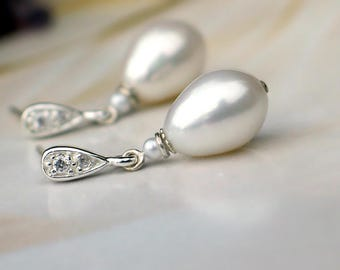 Teardrop Pearl Earrings | White Freshwater Drop Pearls | Seed Pearl | Sterling Silver CZ Studs | Vintage Style | Wedding Gift| Ready to Ship