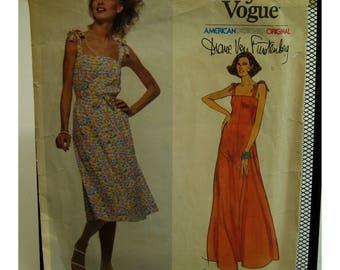 Diane Von Furstenberg Sundress Pattern, Tie Shoulders, Fitted Bustline, Flared Skirt, Long/Short, Vogue American Designer No. 1638 Size 10