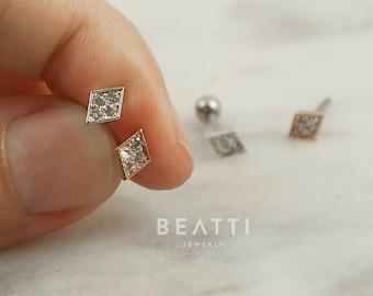CZ Diamond Stud Cartilage Earrings/Tragus earrings/ Helix/ Conch/ Barbell/ Surgical Steel Earrings/ Piercing Jewelry