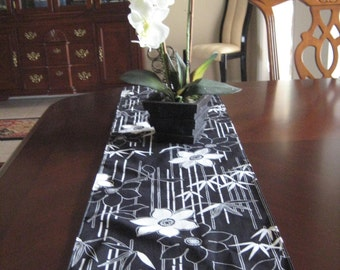 Black And White Tropical Runner, Floral And Bamboo Leaves Table Runner,  Reversible Table Runner, Long And Narrow Runner