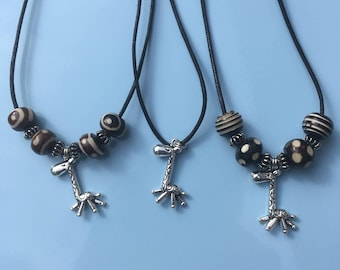 Giraffe Charm Necklace, Charm & Bead Necklace, Black Leather Thong Necklace