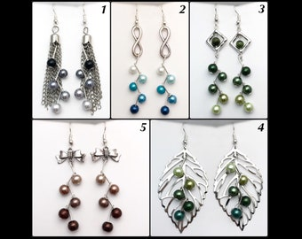 Zigzag earrings and glass beads