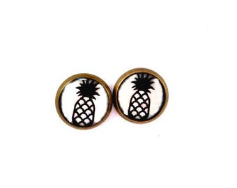 Pineapple - pineapple stud earrings - fruit earrings - pineapple studs - pineapples - vacation earrings - summer earrings - minimalist