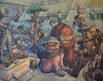 "Mass Effect Celebration: Original Watercolor Painting 30""x22"""