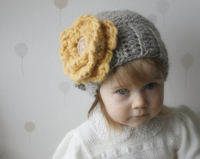 CROCHET PATTERN flower hat Senni (baby, todddler, child sizes)