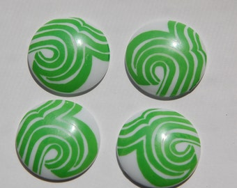 Vintage Mod Green and White Cabochons 30mm cab417A