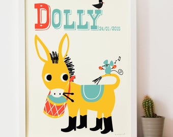 Personalised Drumming Donkey Name Print, letter D, horse print, Retro Print for kids New Baby Gift,Nursery name print,New Baby name Print