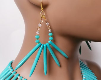 Turquoise Spike Earrings Wakanda Inspired Gold Plated