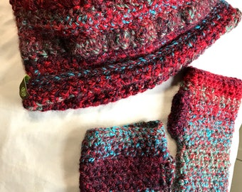 Puff Stitch Crochet Messy Bun Beanie and Fingerless Glove Set