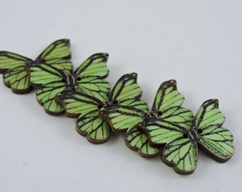 Printed Butterfly Wooden Buttons - qty 5