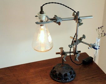 Science industrial lamp steampunk desk flower vase lighting antique lab chemistry gift and laboratory biology reclaimed Edison bulb cool