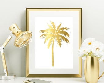 Gold Foil Print, palm tree print, tropical decor, nursery decor, wall art, home decor, office decor, bedroom art