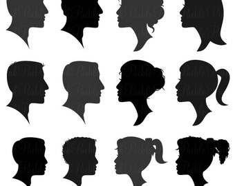 Cameo Silhouettes Photoshop Brushes, Profile Silhouettes Photoshop Brushes - Commercial and Personal Use