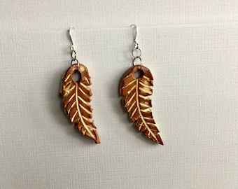 Brown & White Natural Clay Feathers Drop Earrings