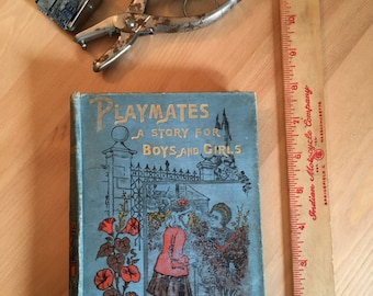 "Vintage book, sketchbook ""Playmates a Story For Boys and Girls"", Mothers Day, Artist Gift"