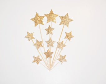 Glitter Gold Star Cake Toppers- Wedding, Bridal Shower, Bachelorette, Birthdays, Party Decorations, Food Picks, Cake Decorations