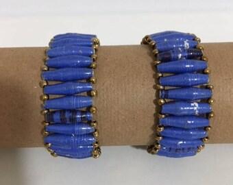 Blue Recycled Paper Bead Stretch Bracelet, Handmade in Uganda