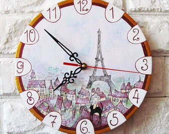 Spring in Paris Wall Clock, Home Decor, wall clocks handmade