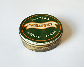 Vintage Player's Whiskey Flake pipe tobacco tin - brown flake, small tin, metal tin, tobacciana, green tin, old tin.