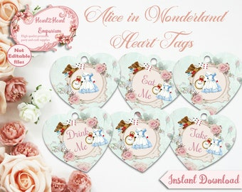 Alice in Wonderland Heart Tags - Eat Me Tags - Drink Me Tags - Collage Sheet - Printable Alice Tags - Party Favor Tags - Instant Download