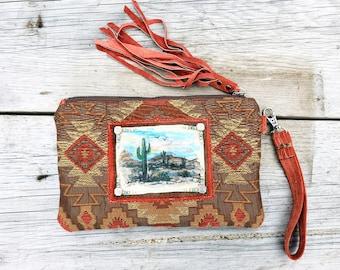 Sedona Sunset Keepsake Wristlet Clutch / Cactus southwest hand painted fringe Bag / Cowgirl Western Accessory