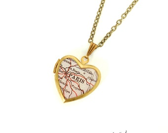 Paris Map Necklace, Antique Map, Small Vintage Brass Heart Locket, France, Europe, Map Jewelry, Gift for Her