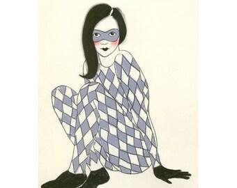 Fashion illustration art print Pretty girl circus art 4 for 3 SALE drawing (print) Harlequin -  4 X 6