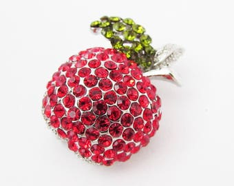 Small Red Apple Brooch, Red Crystal Apple Brooch Pin, Apple Brooch, Fruit Jewellery, Fruit Jewelry, Apple Brooch Pin, Red Apple Brooch
