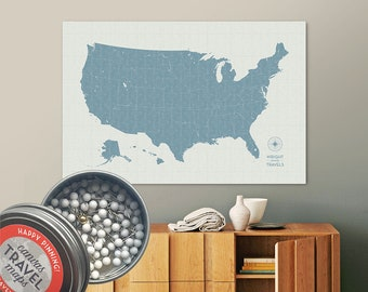 Vintage Push Pin USA Map (Seaglass) Travel Map Push Pin Map Gift Road Trip Map of the USA on Canvas Personalized Gift For Family Name Sign