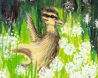 Dancing Duckling in Dandelions Original 5 x 7 inch Acrylic Painting on wood panel