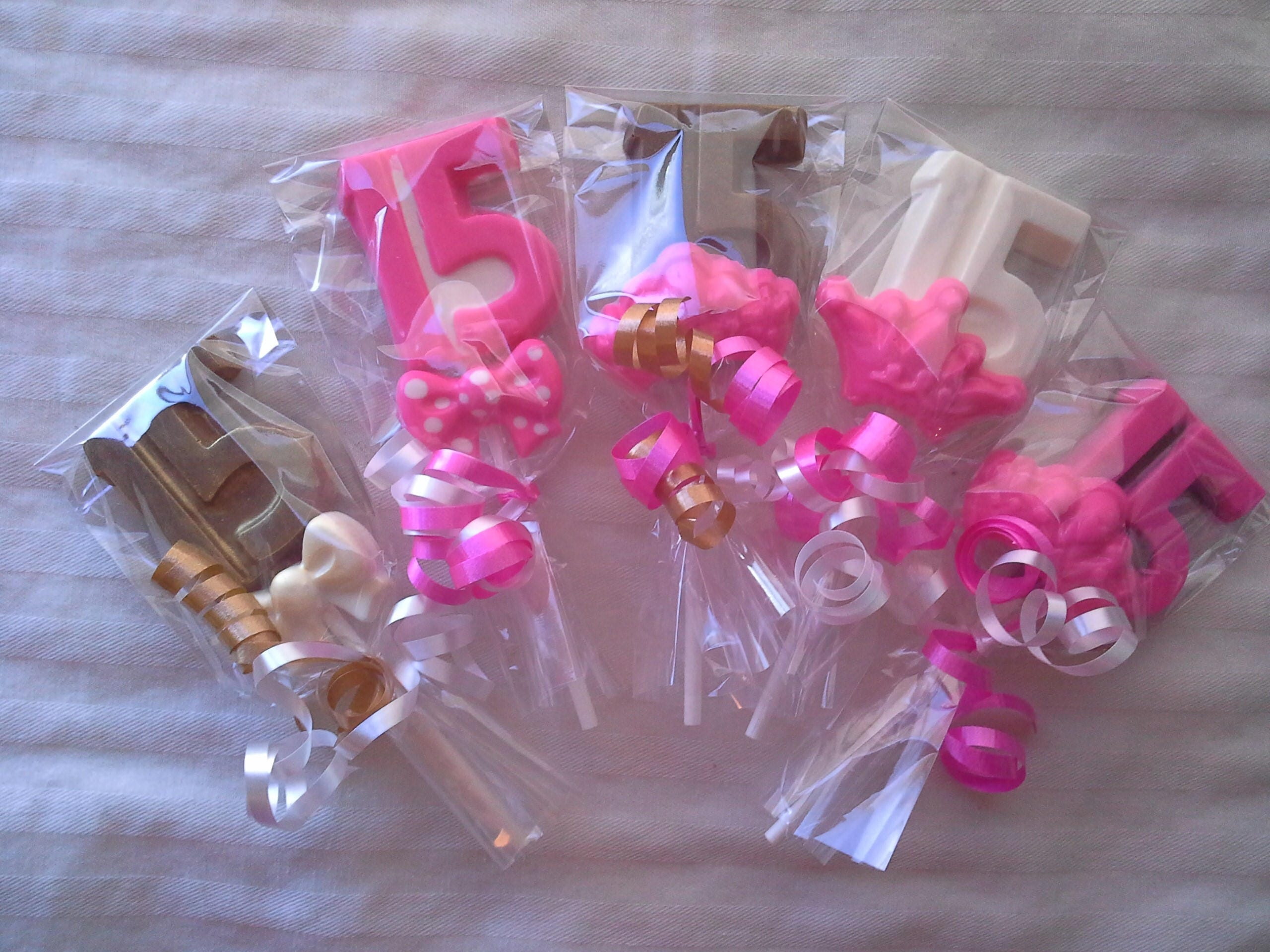Chocolate Number 15 or 16 Lollipops Quinceanera 15th or 16th