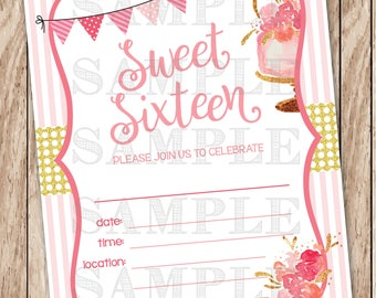 Sweet Sixteen Invitation, Blush Pink & Gold Sweet 16 Invitation, Printable Birthday Party Invitation, Instant Download
