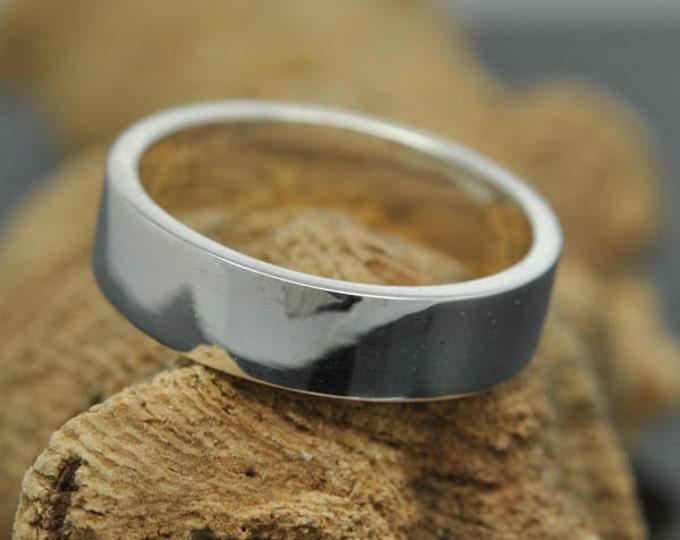 14K palladium white gold ring, 6mm x 1.6mm, flat, wedding band, wedding ring, square, mens wedding ring, mens wedding band, size up to 10