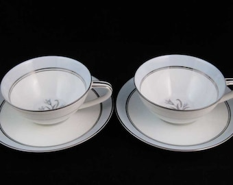 Noritake Bluebell Tea Cups & Saucers (2 Sets) #5558