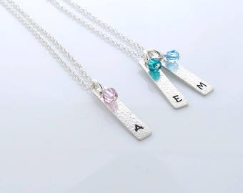 Birthstone Initial Bar Necklace - gift for mum - JENNA silver bar initial and birthstone necklace | personalised vertical bar