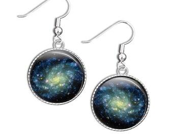 Galaxy earrings - Astronomy Earrings - Glass Galaxy Earrings - Silver Astronomy Earrings