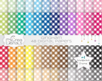 Gingham rainbow paper pack - 48 digital papers - INSTANT DOWNLOAD