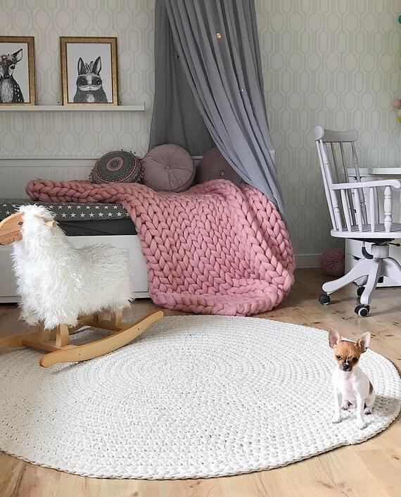 grobstrick gestrickte decke super merino wolle super klobig. Black Bedroom Furniture Sets. Home Design Ideas
