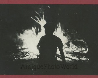Silhouette by fire vintage art photo by H. Dammerman