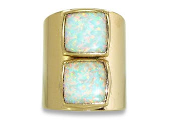 Opal Ring, Opal Jewelry, Gemstones Ring, Opal, White Opal Ring, October Birthstone, Gold Opal Statement Ring, Opal Jewelry By Inbal mishan.