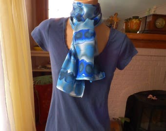 Silk Satin Scarf Hand Painted Blue and White Satin Scarf