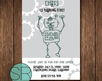 Robot invitation, digital download, custom robot invitation, robot invitation printable
