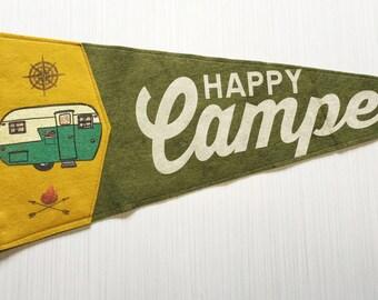 Happy Camper Pennant - Green