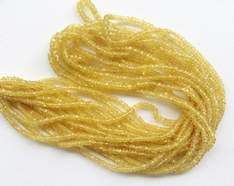 Yellow Sapphire Faceted Rondelle Beads, Natural Yellow Sapphire Beads, Yellow Sapphire Necklace, 2.5-3mm, 8 Inch - AGA35