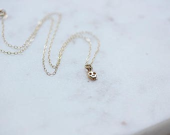 Tiny Gold Skull Necklace - Mini Skull Necklace - Gold Filled Chain - Halloween Necklace - Skull Jewelry - Day of the Dead - Gothic necklace