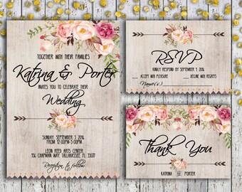 Wedding Invitation Suite, Wedding Invitation Set, Wedding Invitation Download, rsvp Wedding Card, Thank You Card, Boho Chic Wedding, DIY