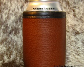 Leather Can Holder 3rd Anniversary Leather Can Beer Holder  Bison  Leather Drink Holder Beverage Insulator Men's Gift Wedding Groomsmen Gift