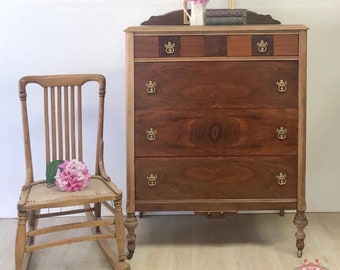 Beautifully Restored Antique Burl Walnut Dresser