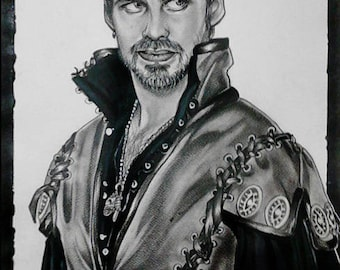 Paper portrait of Captain Hook from Once Upon a Time