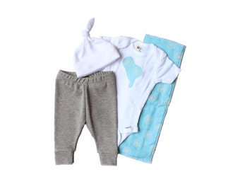 Going home outfit boy - Hospital outfit for baby boy - Baby shower gift - Burp cloth, Onesie, leggings & knotted hat - Blue dandelions
